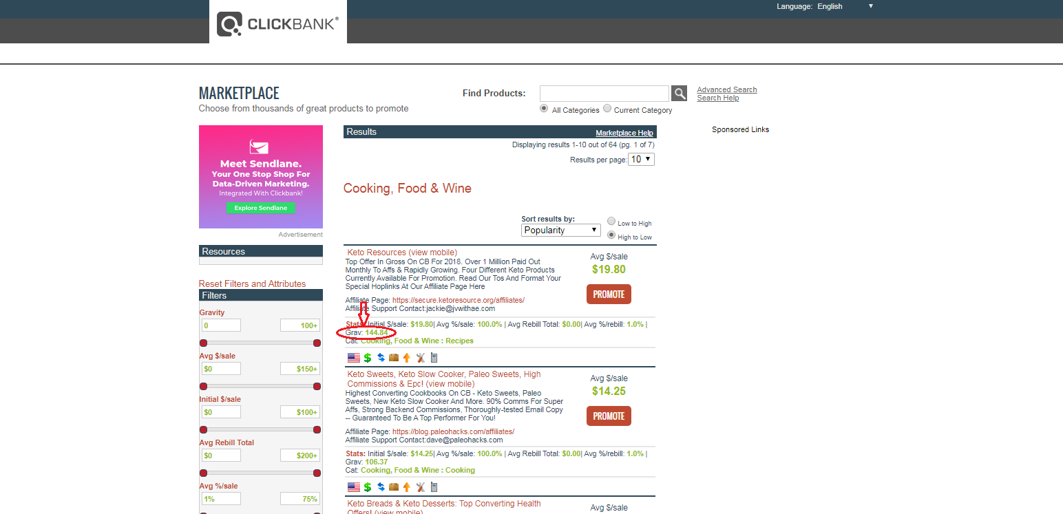 using clickbank to check gravity score of a niche product