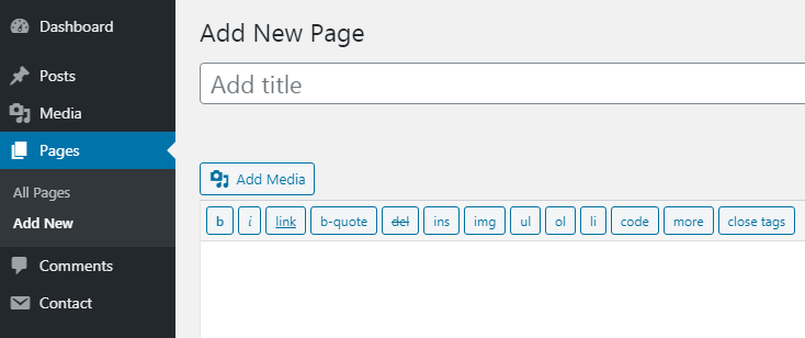 Create three imporantant pages for your blog