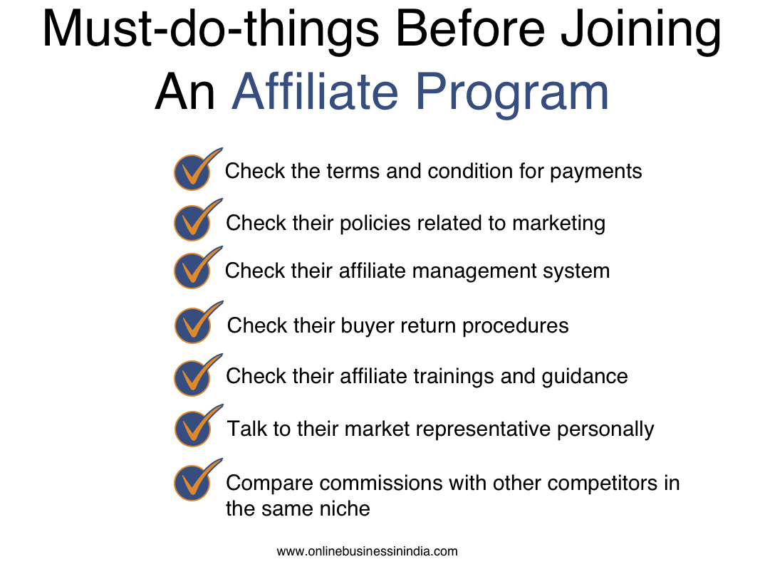 Joining affiliate programs in India