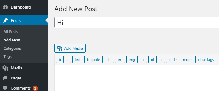Publish your first post with WordPress